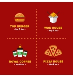set of bright food delivery and restaurant vector image