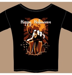 T Shirt with Halloween Zombie Graphic vector image vector image