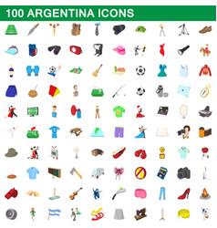 100 argentina icons set cartoon style vector
