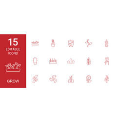 15 grow icons vector image