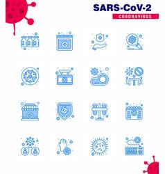 16 blue corona virus pandemic lab bio hands vector