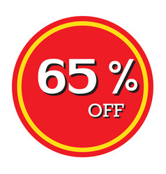 65 off discount price tag isolated vector