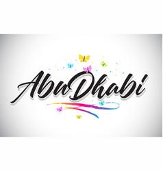 Abudhabi handwritten word text with butterflies vector