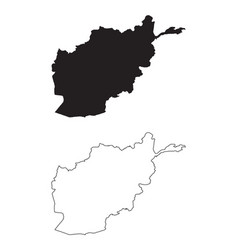 Afghanistan map black silhouette and outline vector