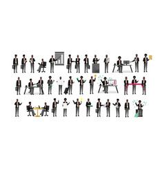 african business people isolated big set vector image