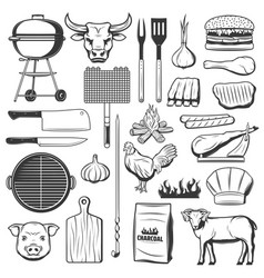 bbq meat icons picnic and barbecue party vector image