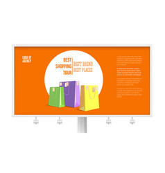 Billboard with ad shopping tour isolated on vector