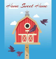 Birdhouses with flying birds poster vector