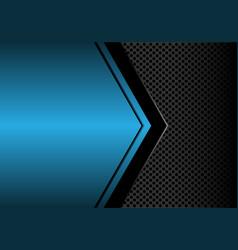 black arrow on blue metallic blank circle mesh vector image