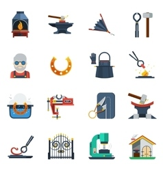 Blacksmith Flat Color Icons Set vector image