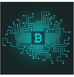 blue network connection bitcoin cryptocurrency vec vector image