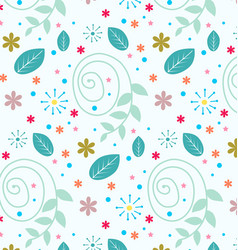 blue pattern with floral decorations vector image