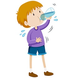 Boy drinking water from bottle vector
