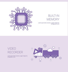 Built in memory and video recorder concept vector