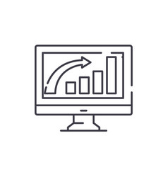 business growth line icon concept business growth vector image