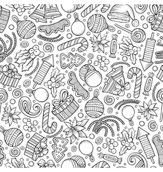 Cartoon cute hand drawn Xmass seamless pattern vector image