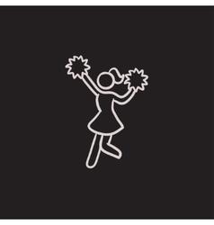 Cheerleader sketch icon vector