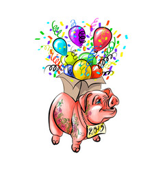 chinese zodiac sign year of pig happy chinese new vector image