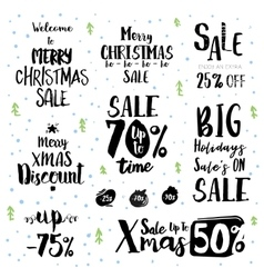 Christmas sale vintage text labels vector image