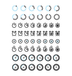 clock icons timers symbols hours minutes stop vector image