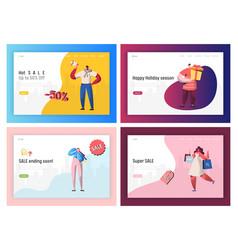commerce sale offer promotion landing page set vector image