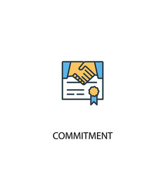 Commitment concept 2 colored line icon simple vector