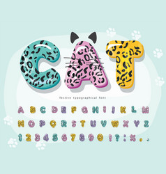 cute animal cartoon font for kids funny leopard vector image