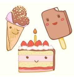 Cute cake ice cream with faces vector