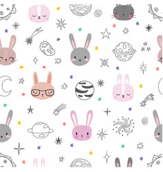 cute space seamless pattern with cartoon bunnies vector image
