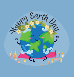 earth day planet sits on rug for yoga and vector image