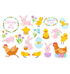 easter bunny chicks and spring flowers funny vector image