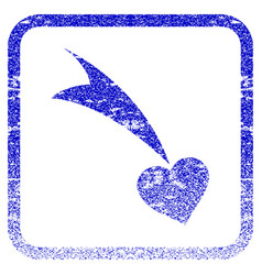 Falling heart framed textured icon vector