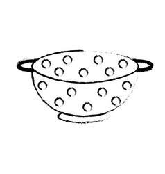 Figure colander kitchen utensil object to cuisine vector