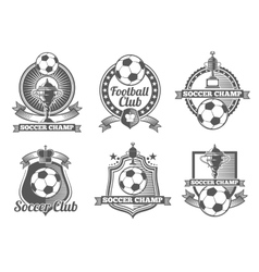 Football or soccer vintage labels logos vector