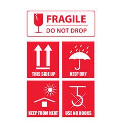 Fragile sticker set vector