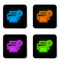 glowing neon printer and gear icon isolated on vector image