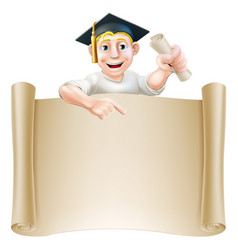 Graduate and scroll banner sign vector