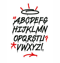 Graffiti font with drips and decorations alphabet vector