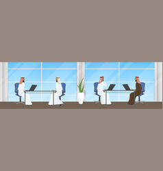 group of arab business people working at laptop vector image