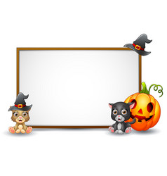 halloween sign with witch hat cat and pumpkin vector image