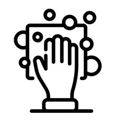 Hand and sponge icon outline style vector