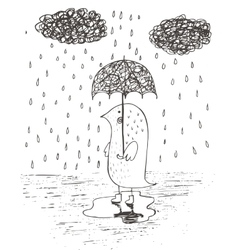 Hand drawn rain umbrella vector