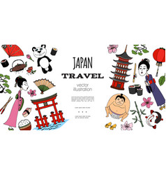 Hand drawn travel to japan concept vector