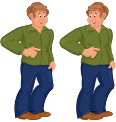 Happy cartoon man standing in green polo shirt and vector