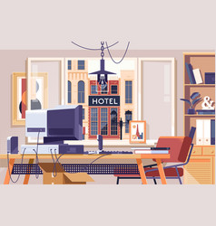 Home office design workspace room conceptflat vector