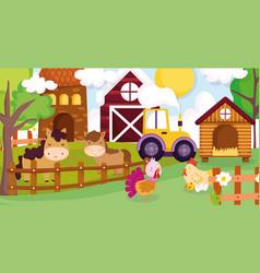 Horses hen chicken turkey tractor barn house fence vector