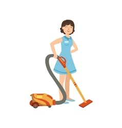 Hotel professional maid cleaning the floor with vector