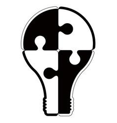 isolated lightbulb silhouettte vector image