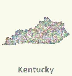 Kentucky line art map vector