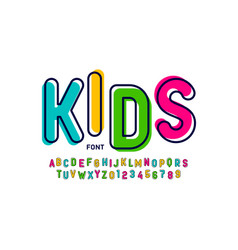 kids style colorful font playful alphabet letters vector image
